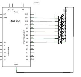 Schéma électrique du montage Arduino d'une chenille à LED