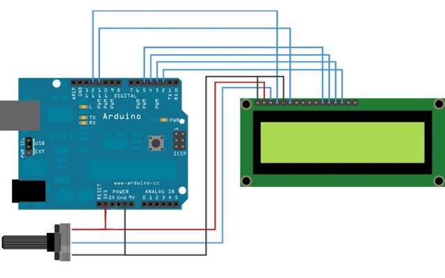 Branchement du montage d'un thermomètre électronique réalisé avec Arduino