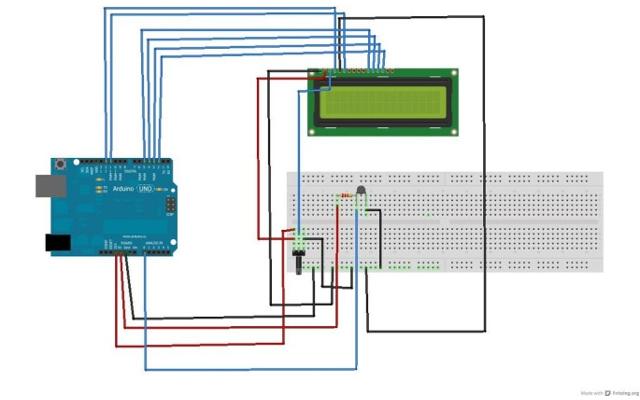 Branchement sur plaque à essai du montage d'un thermomètre électronique